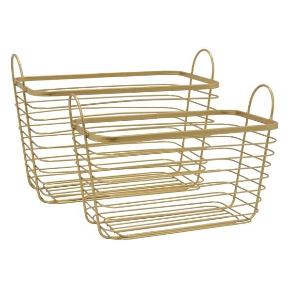 Grey Metal Basket -set Of 2 in Gold Metal 16in L x 10in W x 12in H