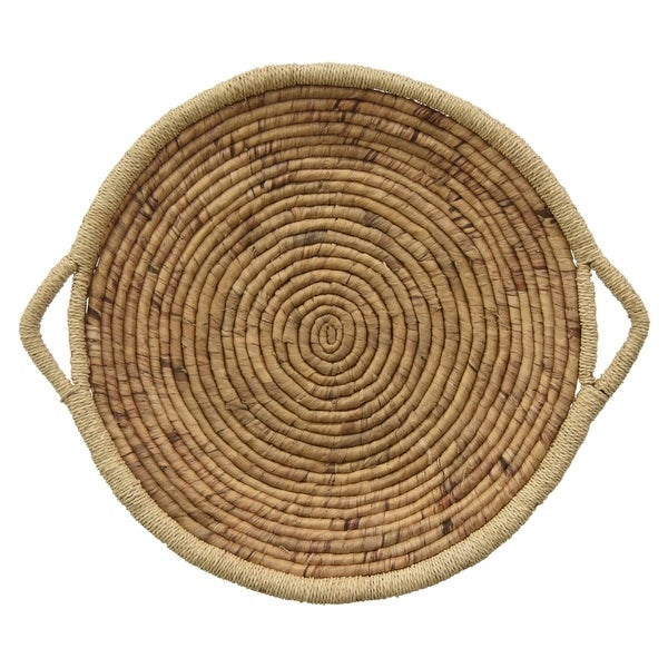 Grey Water Hyacinth Tray in Brown Natural Fiber 24in L x 24inW x 3inH
