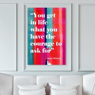 Oliver Gal 'Courage in Life' Typography and Quotes Wall Art Canvas Print - White, Red