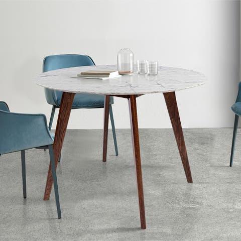 Carson Carrington Tandsjoberg 31-inch Round Walnut Marble Dining Table