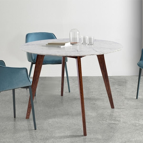 Carson Carrington Tandsjoberg 31-inch Round Walnut Marble Dining Table. Opens flyout.