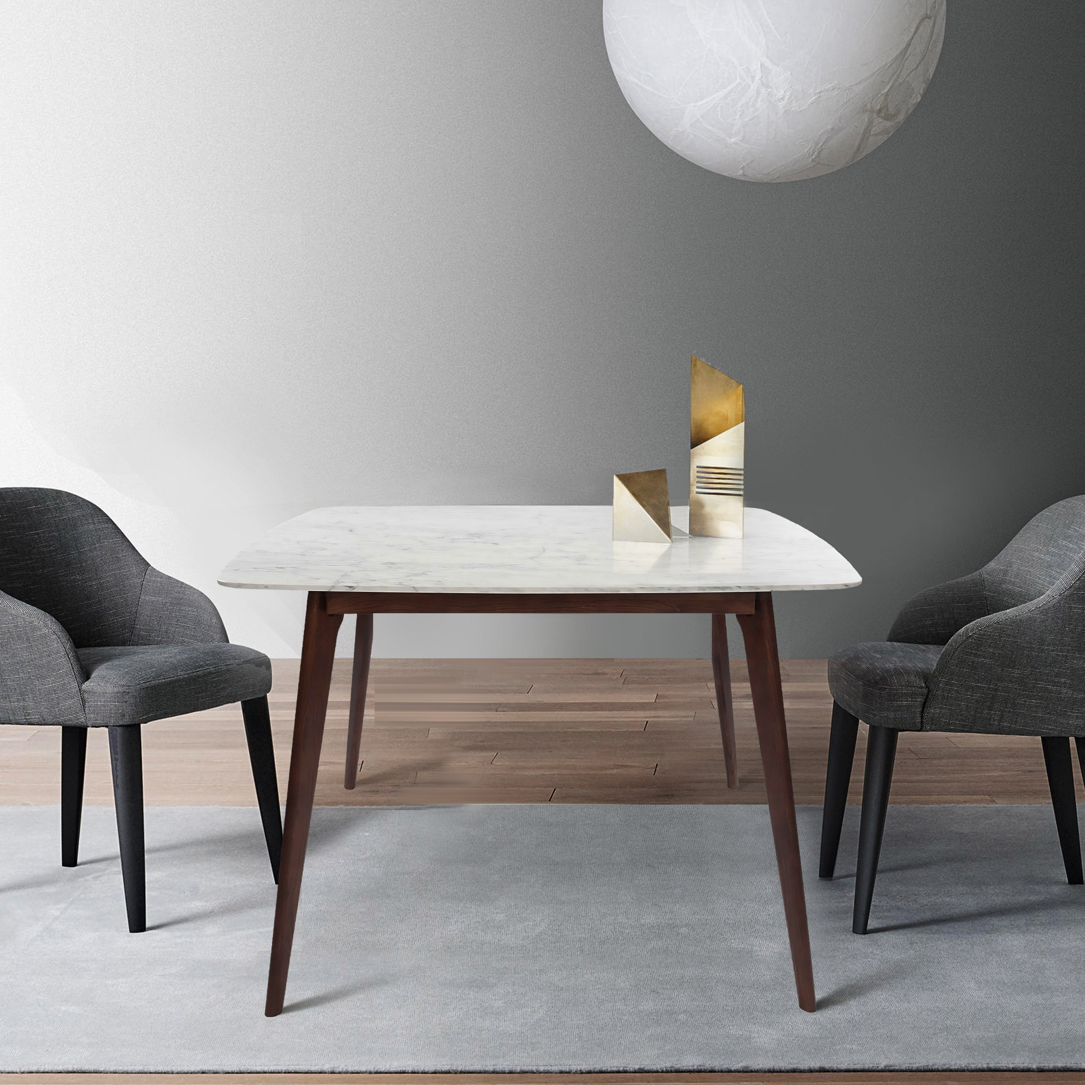Senna 39 Square Italian Carrara White Marble Dining Table With Walnut Legs 39 L X 39 W X 29 5 H Overstock 29770369