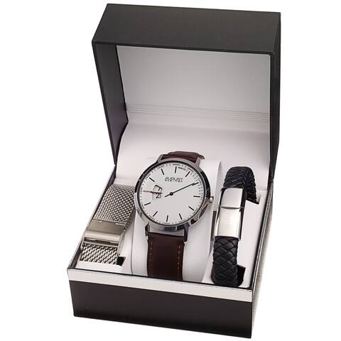 August Steiner Men's Quartz Hour Display Watch with two Extra Bands