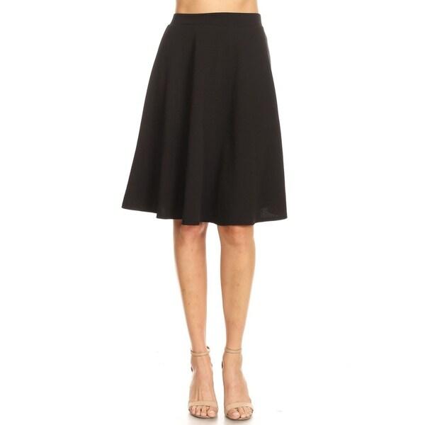 Women's Solid Basic A-Line Knee Length Bottom Skirt