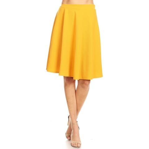 Women's Solid Basic A-Line Knee Length Bottom Skirt