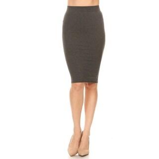 Women's Solid Basic High Rise Bodycon Bottom Skirt