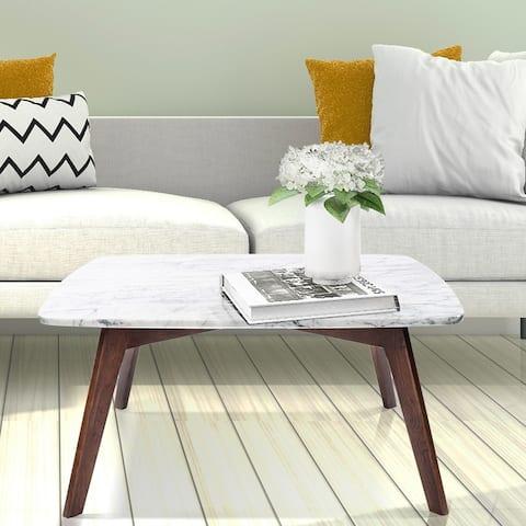 Carson Carrington Tangelanda 31-inch Square Marble Table with Walnut Legs
