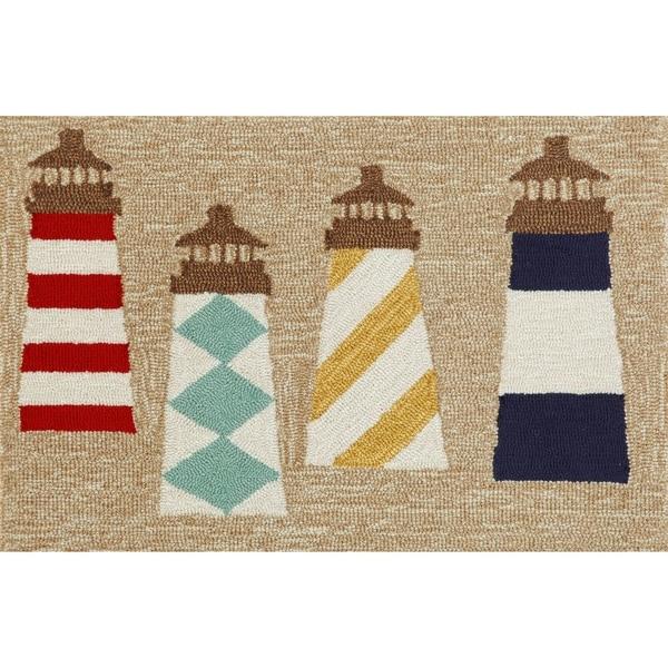 "Liora Manne Frontporch Lighthouses Indoor/Outdoor Rug Natural 24""X36"""