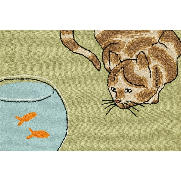 "Liora Manne Frontporch Curious Cat Indoor/Outdoor Rug Green 24""X36"""