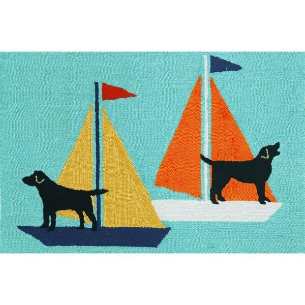 """Liora Manne Frontporch Sailing Dog Indoor/Outdoor Rug Blue 24""""X36"""""""
