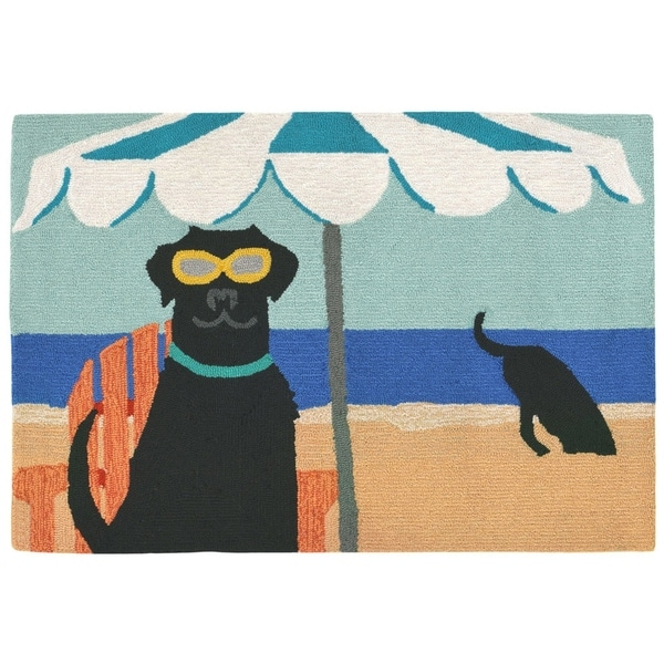 "Liora Manne Frontporch Dig In The Beach Indoor/Outdoor Rug Ocean 24""X36"""