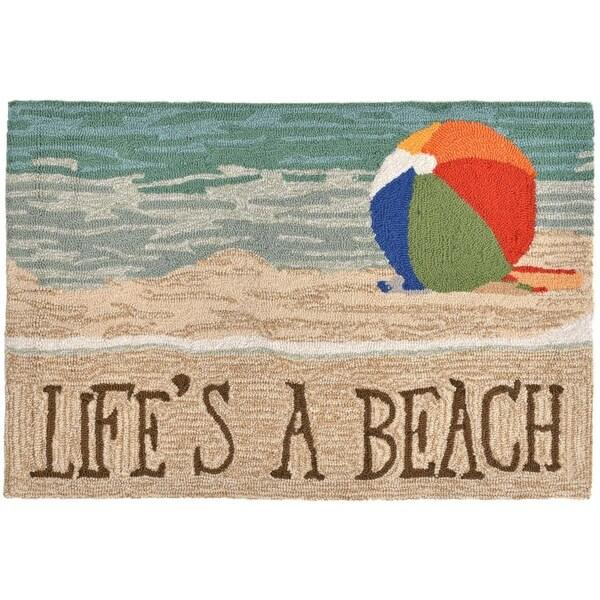 """Liora Manne Frontporch Life's A Beach Indoor/Outdoor Rug Sand 24""""X36"""""""