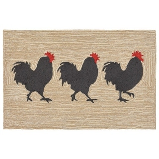 "Liora Manne Frontporch Roosters Indoor/Outdoor Rug Neutral 24""X36"""