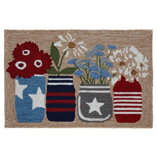 "Liora Manne Frontporch Flowers Indoor/Outdoor Rug Americana 24""X36"""