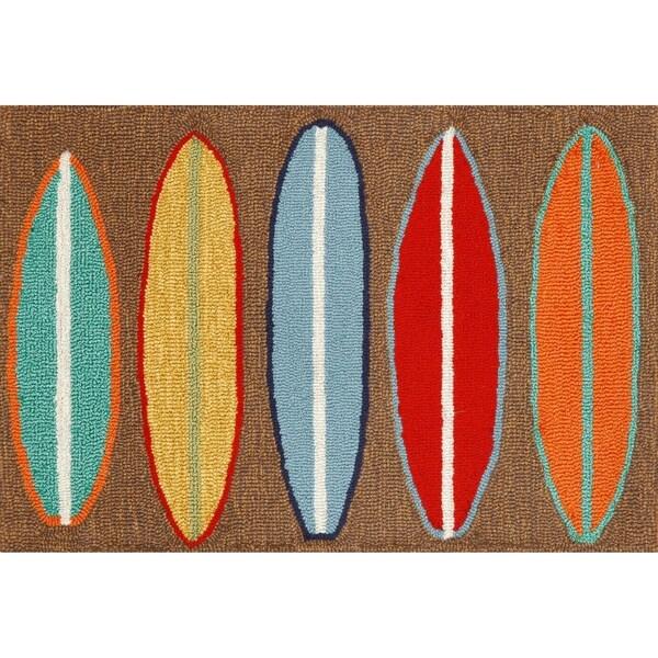 """Liora Manne Frontporch Surfboards Indoor/Outdoor Rug Brown 30""""X48"""""""