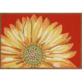 """Liora Manne Frontporch Sunflower Indoor/Outdoor Rug Red 30""""X48"""""""