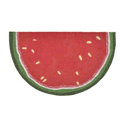 "Liora Manne Frontporch Watermelon Slice Indoor/Outdoor Rug Red 24""X36"" 1/2 RD - 24""X36"" 1/2 RD"