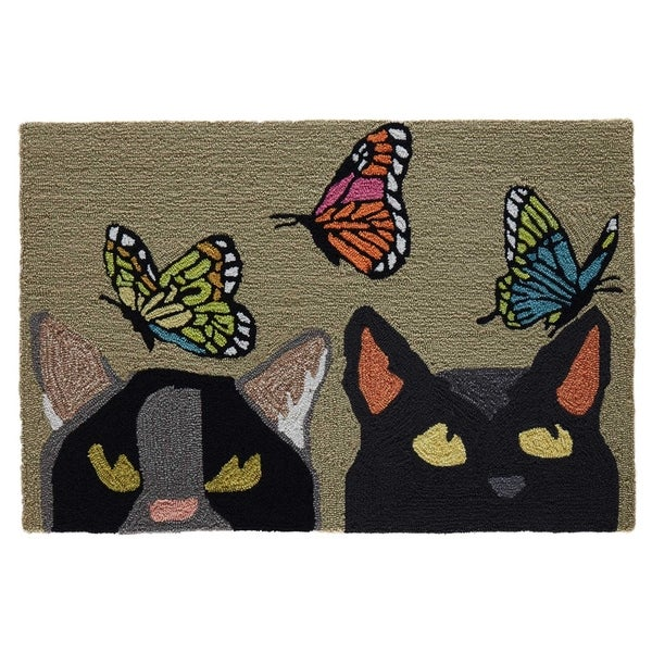 "Liora Manne Frontporch Cats And Butterflies Indoor/Outdoor Rug Mint 30""X48"""