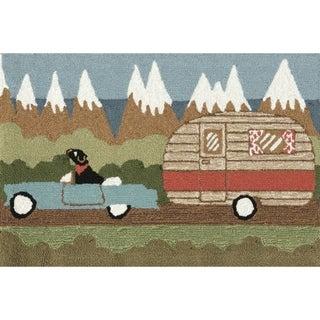 "Liora Manne Frontporch Camping Dog Indoor/Outdoor Rug Green 24""X60"""