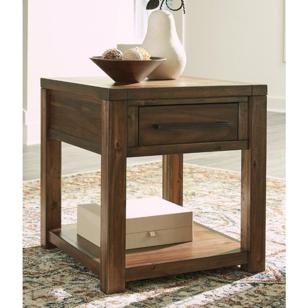 Carbon Loft Odenthal Contemporary Brown Rectangular End Table (Brown)