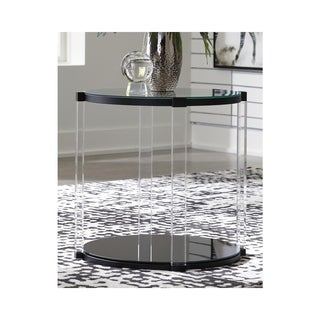 Delsiny Contemporary Round End Table Black