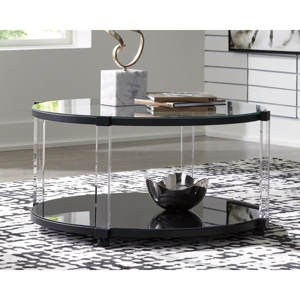 Delsiny Contemporary Round Cocktail Table Black