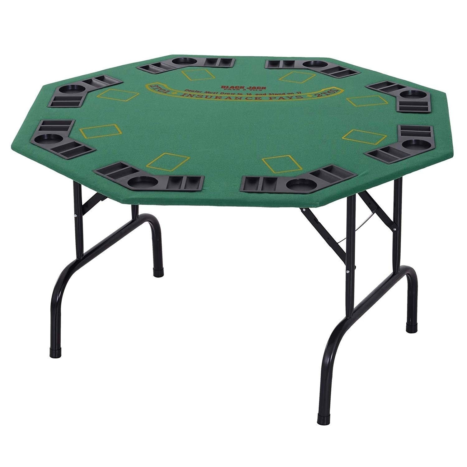 """Soozier 9"""" 9 Person Octagonal Foldable Poker Table with Cup Holders"""