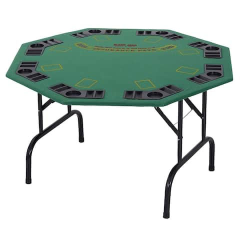 "Soozier 48"" 8 Person Octagonal Foldable Poker Table with Cup Holders"