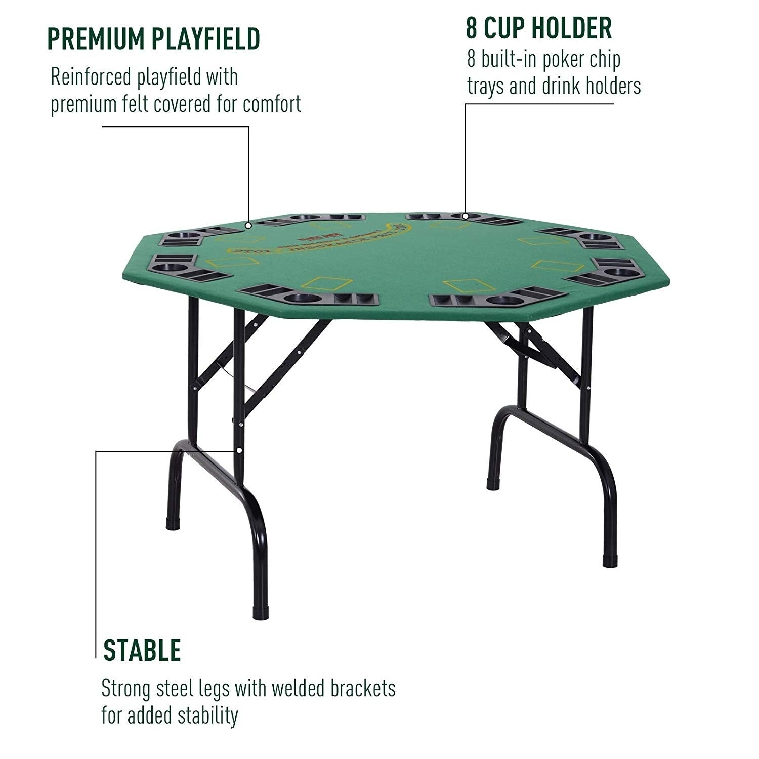 8 person folding poker table chairs