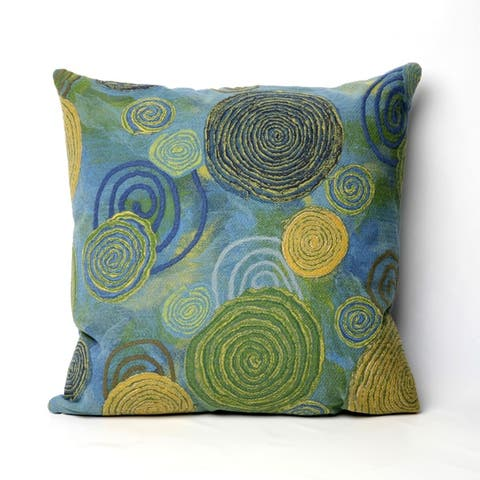 """Liora Manne Visions III Graffiti Swirl Indoor/Outdoor Pillow Cool 20"""" Square"""