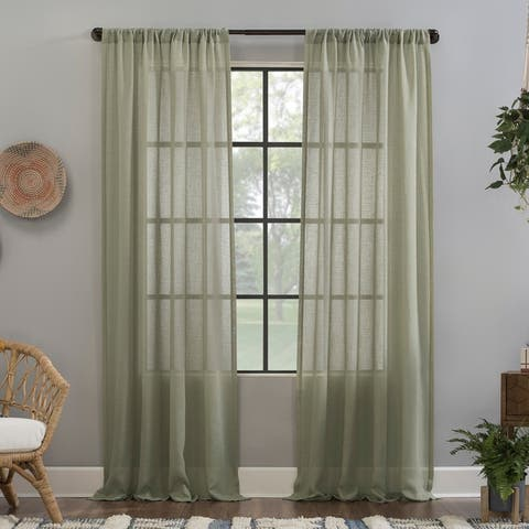 Clean Window Crushed Texture Anti-Dust Sheer Curtain Panel