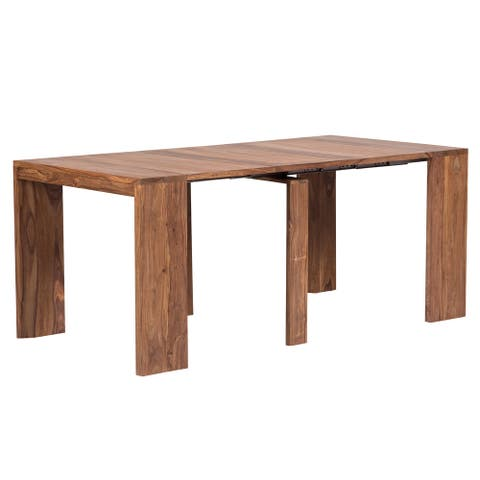 Stretch Expandable with 3 Leaves Dining Table, Natural
