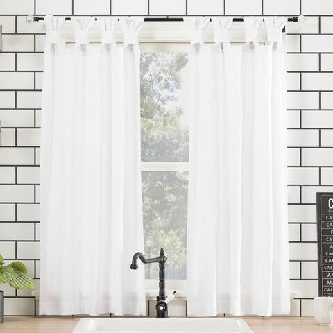 Archaeo Washed Cotton Twist Tab Kitchen Curtain Tier Pair - 52 x 45