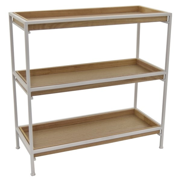 3 Tier Storage Shelf, Accent Shelf White Metal Frame with Wood Shelves 28in H