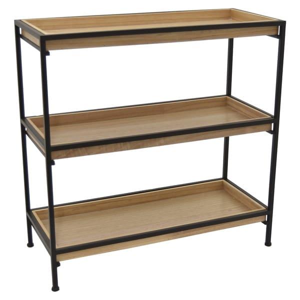 3 Tier Storage Shelf, Accent Shelf Black Metal Frame with Wood Shelves 28in H