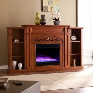 Gracewood Hollow Chantal Brown Color Changing Fireplace with Bookcases