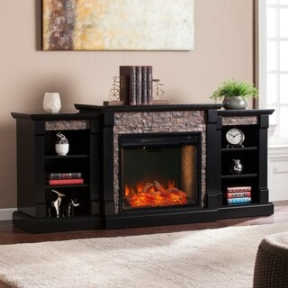 Copper Grove Gordon Black Alexa Enabled Fireplace with Bookcases