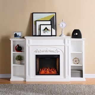Copper Grove Cherlisse White Alexa Enabled Fireplace with Bookcases