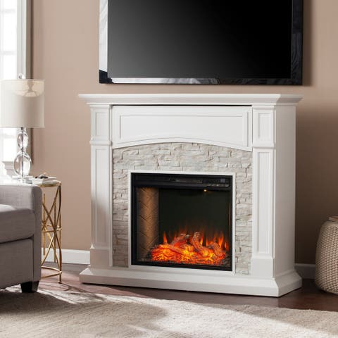 Copper Grove Stevens Transitional White Wood Alexa Enabled Fireplace - N/A