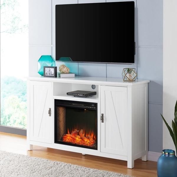 The Gray Barn Alicia Farmhouse White Alexa Enabled Media Fireplace