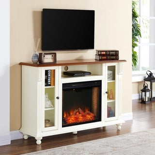 Copper Grove Conner Farmhouse White Wood Alexa Enabled Media Fireplace