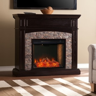 Copper Grove Grady Traditional Brown Wood Alexa Enabled Fireplace