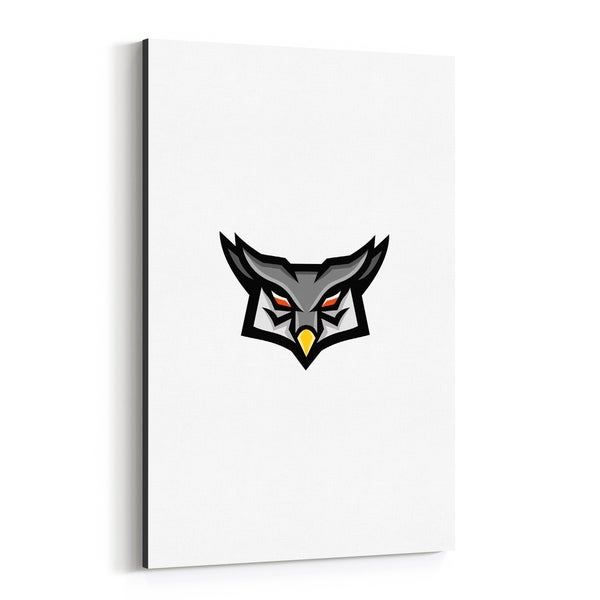 Noir Gallery Angry Horned Owl Head Front Mascot Canvas Wall Art Print