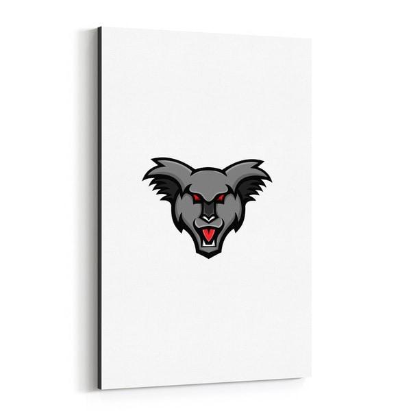 Noir Gallery Angry Koala Head Mascot Canvas Wall Art Print