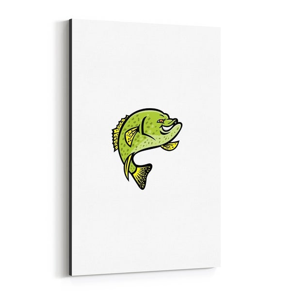 Noir Gallery Crappie Fish Mascot Canvas Wall Art Print