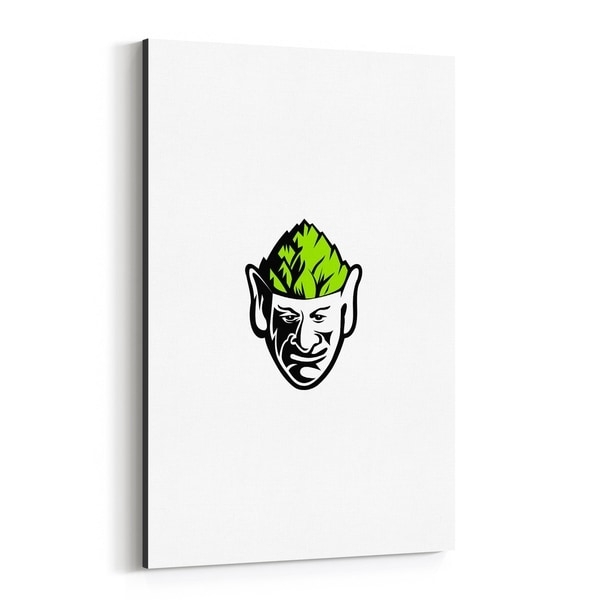 Noir Gallery Elf Wearing Hops Hat Mascot Canvas Wall Art Print