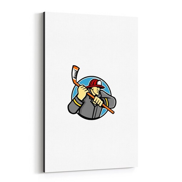 Noir Gallery Fireman Ice Hockey Mascot Canvas Wall Art Print