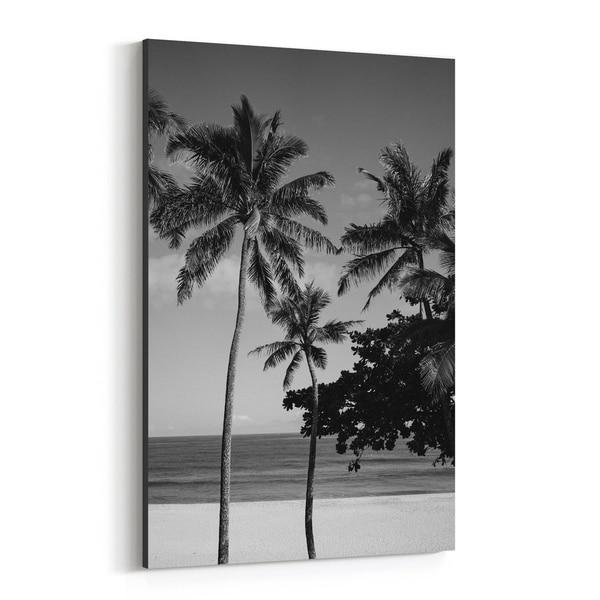 Noir Gallery Oahu Hawaii Beach Palm Tree Photo Canvas Wall Art Print