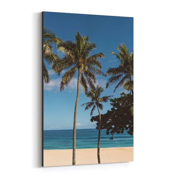 Noir Gallery Oahu Hawaii Beach Palm Tree Photo Canvas Wall Art Print