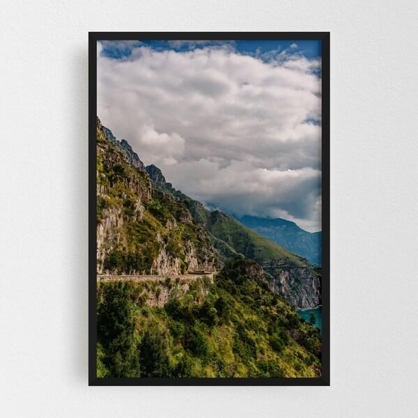 Noir Gallery Positano Italy Beach Mountains Photo Framed Art Print